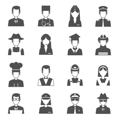 cartoon police officer: Professions black avatar set with pilot fireman operator isolated vector illustration
