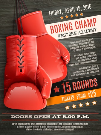 hanging banner: Boxing champ poster with realistic red gloves on wooden background vector illustration