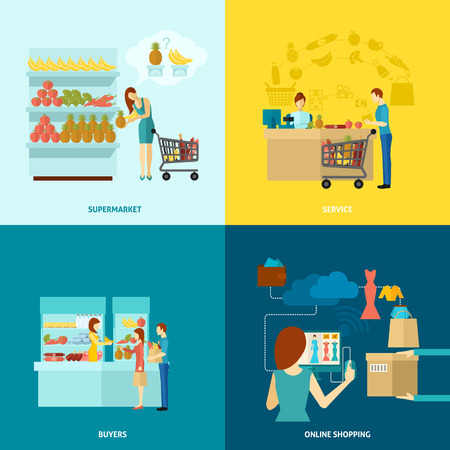 supermarket shopping cart: Buyer design concept set with supermarket and online shopping service flat icons isolated vector illustration
