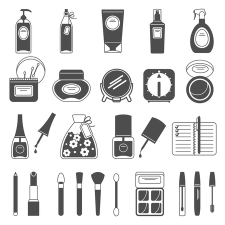 accessori trucco di bellezza per la cura della pelle icone nere impostate con il rossetto smalto astratta illustrazione isolato