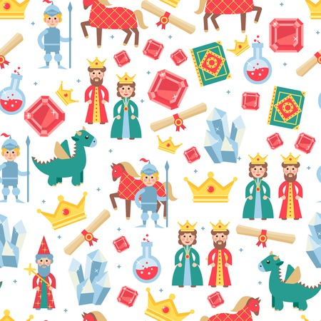personages: Fairytale seamless pattern with magic medieval games personages vector illustration Illustration