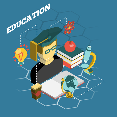 self study: College university traditional scientific education concept isometric banner with atom model and study books abstract vector illustration