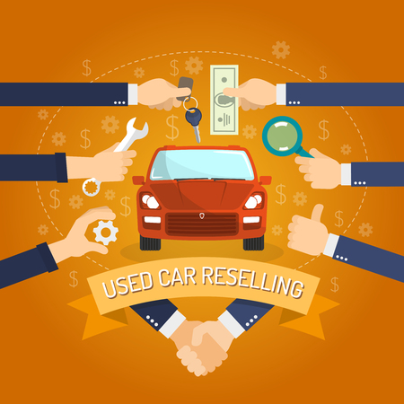 Used cars reselling concept with hands holding keys and money flat vector illustration