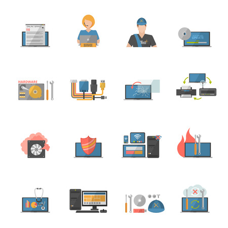 hardware: Computer repair icons set with hardware and software problems symbols flat isolated vector illustration
