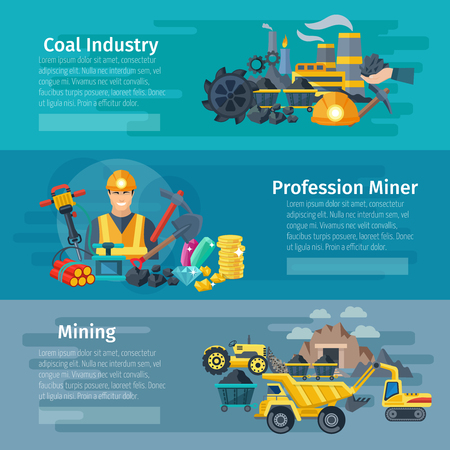 COAL MINER: Mining horizontal banner set with coal industry flat elements isolated vector illustration