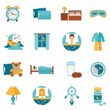 atrapasueños: Iconos planos de tiempo del sueño fijan con almohadas despertador y aislados muebles de dormitorio ilustración vectorial