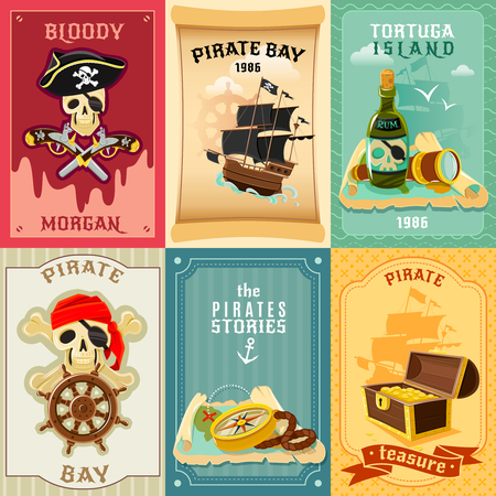bay: Vintage style children pirate stories 6 flat banners composition poster with treasure chest abstract isolated vector illustration