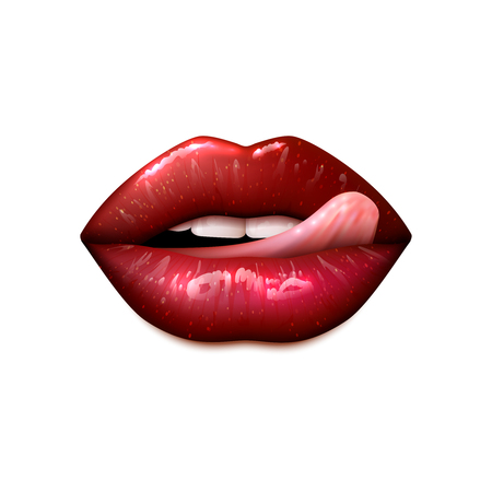 red lips: Female lips make up with teeth and tongue realistic isolated vector illustration