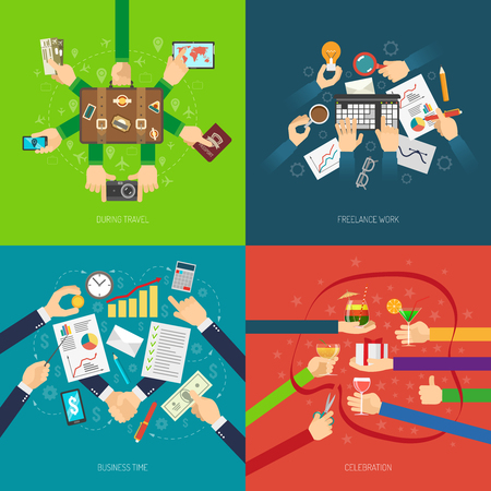 success business: Design concept set with business hands in situation of work travel and celebration isolated vector illustration Illustration