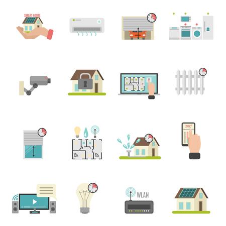 Iconos de la casa Smart Set con sistema de calefacción y acondicionamiento símbolos plana aislado ilustración vectorial