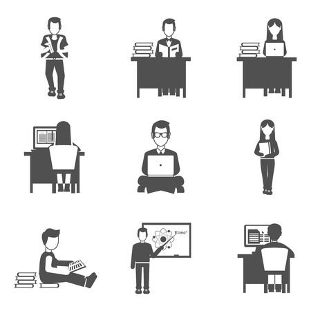 high school: Students and learning process black icons set isolated vector illustration