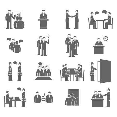 dialogo: iconos planos negros hablando interacción gente telefónicas diálogo aislados ilustración vectorial.