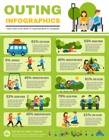 Outing infographics set with families with kids outdoors vector illustration Illustration