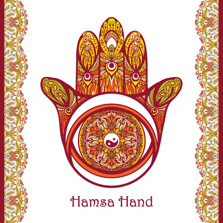 allah: Colored arabic amulet hamsa hand with flower ornament vector illustration