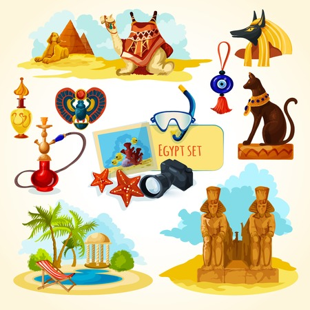 egyptian mummy: Egypt touristic set with cartoon travel attractions isolated vector illustration Illustration
