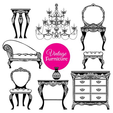 muebles antiguos: Dibujado a mano muebles vintage negro situado en estilo barroco en el fondo aislado blanco ilustración vectorial Vectores