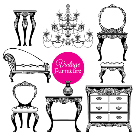 chandeliers: Hand drawn black vintage furniture set in  baroque style on white background  isolated  vector illustration