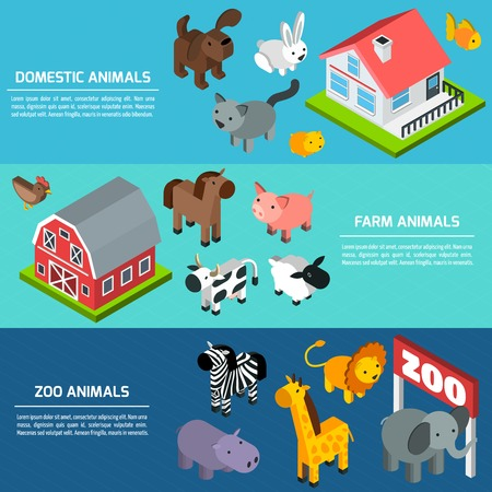 domestic animals: Horizontal banner set with domestic farm and zoo animals isometric elements isolated vector illustration