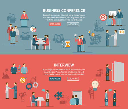 discussion: Flat horizontal banner composition  with people meeting for  business  presentation discussion and seminar vector illustration.
