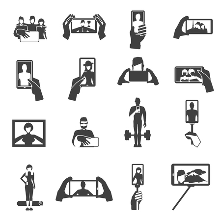 Taking flattering funny selfie pictures on vacations with smart phone black icons set abstract isolated vector illustration 일러스트