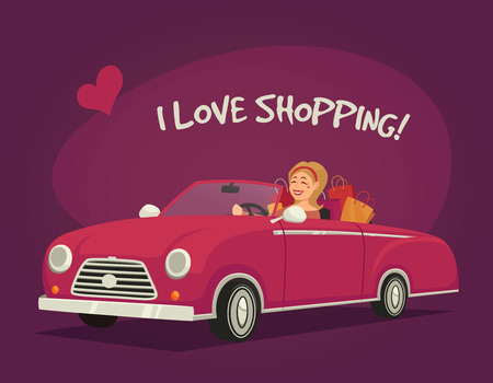 woman driving: Woman driving shopping in a cabriolet on purple background cartoon vector illustration