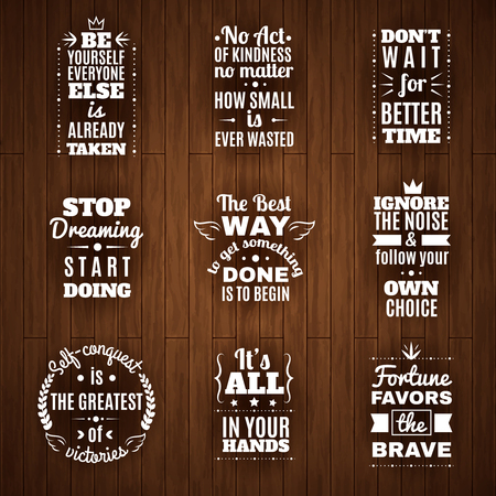 Timeless inspirational words and motivation quotes for daily reading with dark planks background abstract isolated vector illustration
