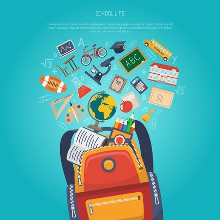Concepto de la educación con la mochila escolar y símbolos de aprendizaje planas ilustración vectorial
