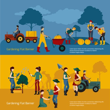 gardening hoses: Gardening people with working tools horizontal banner set isolated vector illustration