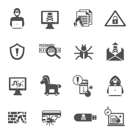 computer crime: Hacker and computer security black icons set isolated vector illustration