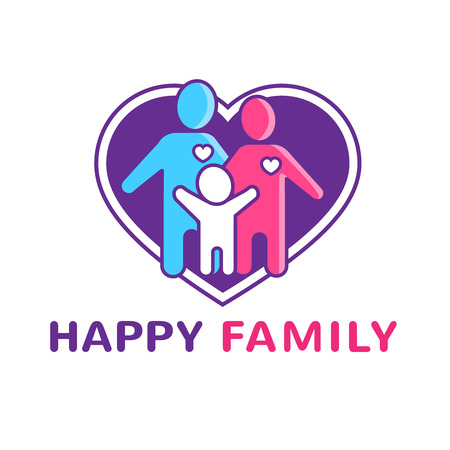 dating: Happy family icon with parents child and big heart flat vector illustration