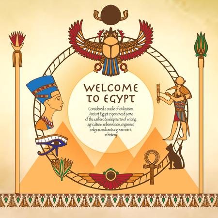 esfinge: Fondo egipcio con marco hecho de egipto símbolos antiguos ilustración vectorial