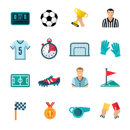football trophy: Soccer flat icons set with stopwatch football trophy and whistle isolated vector illustration