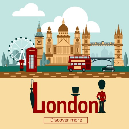 London touristic poster with famous landmarks and symbols flat vector illustration