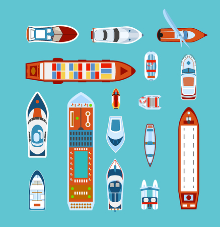 ocean view: Various ships and boats types on water view from above with cruise liner abstract vector illustration