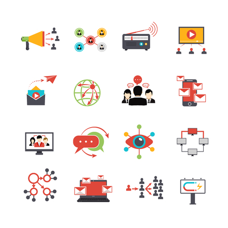 illustration technique: Viral marketing advertisement replicating technique via social media service technologies flat icons set abstract isolated vector illustration Illustration