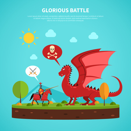 ballad: Legendary medieval knight in suit of armor battle with dragon flat abstract pictogram poster print vector illustration