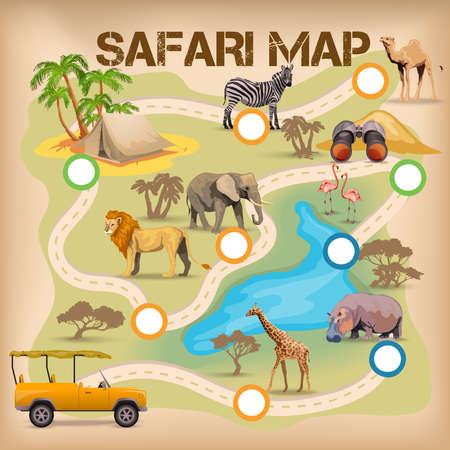 animales del zoo: Cartel para el juego con el mapa de safari y áfrica animales iconos ilustración vectorial aislado