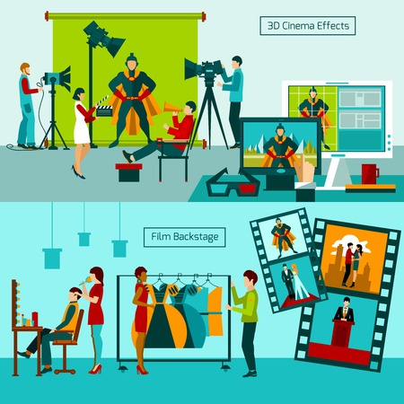 backstage: Cinema people horizontal banner set with film backstage elements isolated vector illustration Illustration