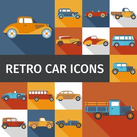Coches viejos y autos retro iconos planos establece la ilustración del vector aislado Foto de archivo - 47625709