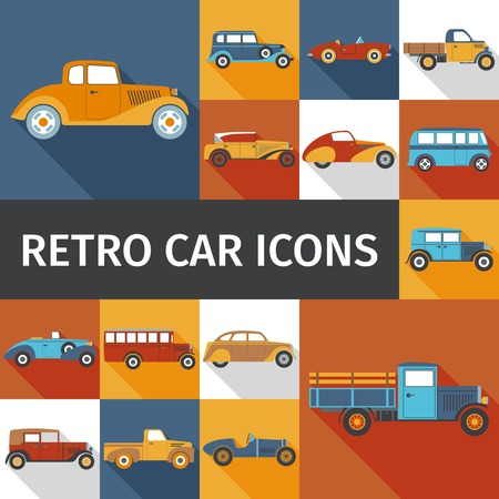 antique car: Old cars and retro autos flat icons set isolated vector illustration Illustration