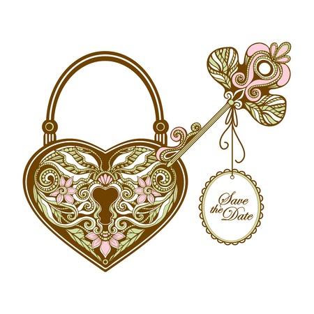 Uitstekende sleutel en hartvorm sier slot hand getekende vector illustratie