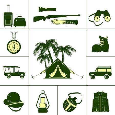 탄약: Safari icons  with tourist  ammunition and hunting  accessories isolated vector illustration