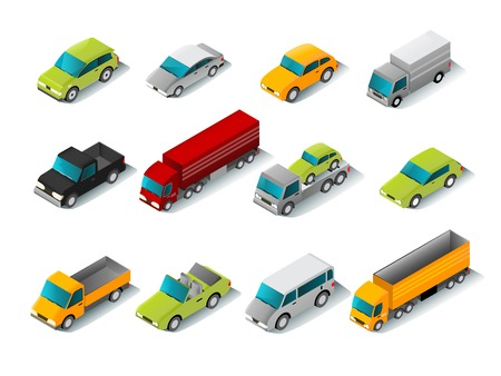 Isometric car icons set with 3d vans and trucks isolated vector illustration