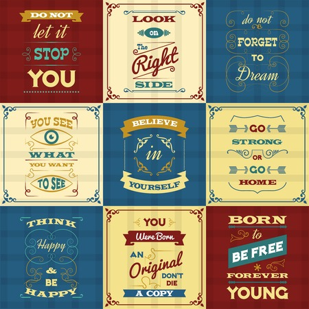 refranes: Slogan and motivational sayings typography mini posters set isolated vector illustration
