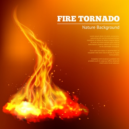 natural disaster: Fire tornado swirls realistic campfire flame with sparks poster vector illustration