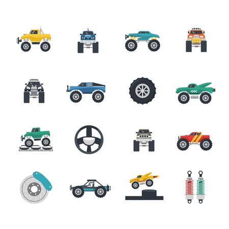 Monster truck and heavy vehicles flat icons set isolated vector illustration