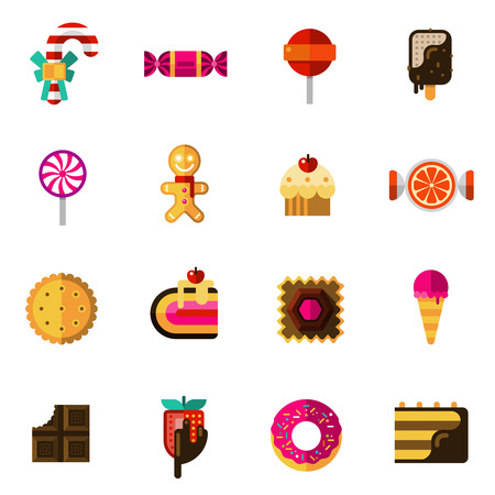 crisp: Sweets icons set with chocolate pie and ice cream flat isolated vector illustration