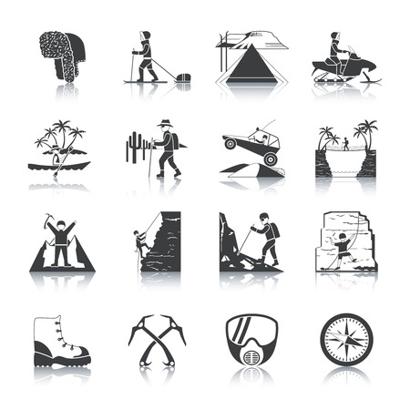 internet explorer: Expedition and outdoor adventures icons black set isolated vector illustration Illustration