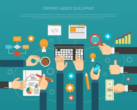 redes de mercadeo: Proceso de desarrollo de sitios web con las manos sosteniendo símbolos de negocios ilustración vectorial plana