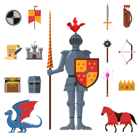 castello medievale: Regno medievale leggendario guerriero cavaliere armato di lancia e attributi icone piane set astratto, isolato illustrazione vettoriale Vettoriali